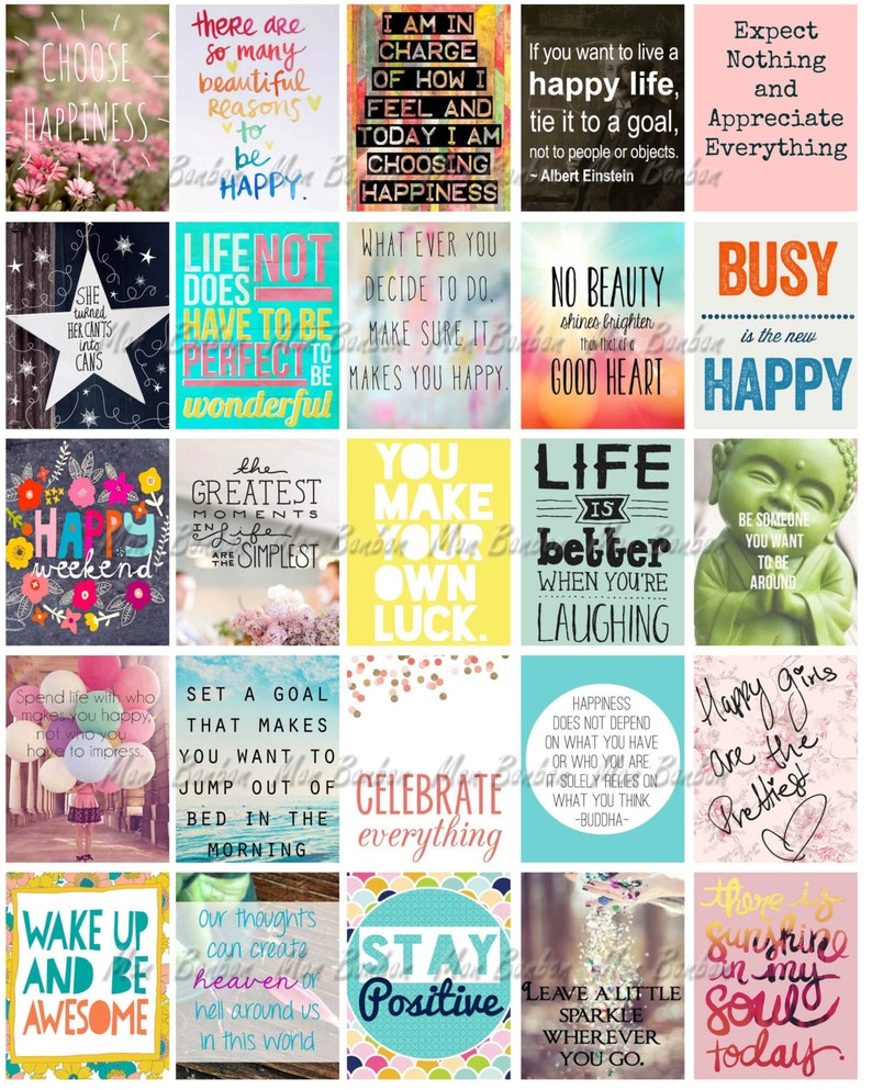 photograph relating to Printable Sticker Sheet referred to as Content Inspirational and Motivational Printable Sticker Sheet - Print at Dwelling Joyful Everyday living Planner Offers - satisfies Erin Condren Lifetime Planner