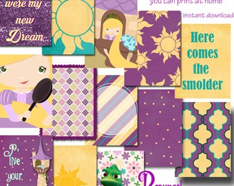 Rapunzel Tangled 3x4 Pocket Cards for Digital Scrapbooking, Project Life, Disney Scrapbooking etc -INSTANT DOWNLOAD