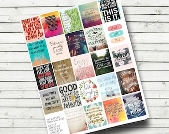 Quote Stickers - Planner Printable - Motivational Quotes - Life Planner Quotes - Download and Print - Fits Erin Condren Life Planner