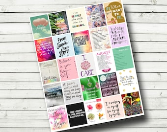 August Planner Printable - Print Your Own Planner Stickers, Monthly Printable Quotes, Planner Quotes, Fits Erin COndren Life Planner 1.5x1.9