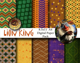 Disney Lion King Inspired 8.5x11 A4 Digital Paper Backgrounds for Digital Scrapbooking, Party Supplies, etc -INSTANT DOWNLOAD -