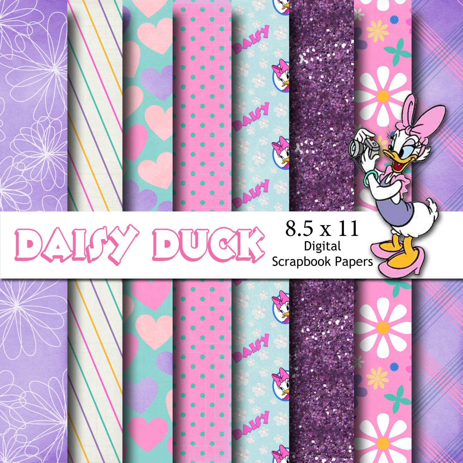 Disney Daisy Duck Inspired 85x11 A4 Digital Paper Backgrounds Etsy