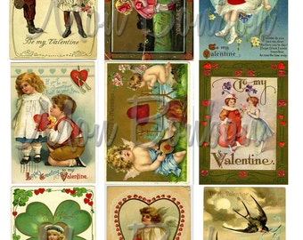 Vintage Victorian Valentine Greeting Card Collage Sheets - DIY Printable - INSTANT DOWNLOAD