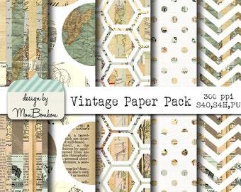 Vintage Ephemera Digital Paper Backgrounds Pack - 12x12  - INSTANT DOWNLOAD