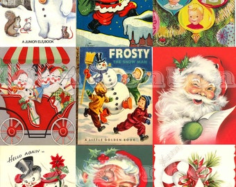 Digital Collage Sheet of Vintage Retro Christmas Cards & Books - INSTANT DOWNLOAD