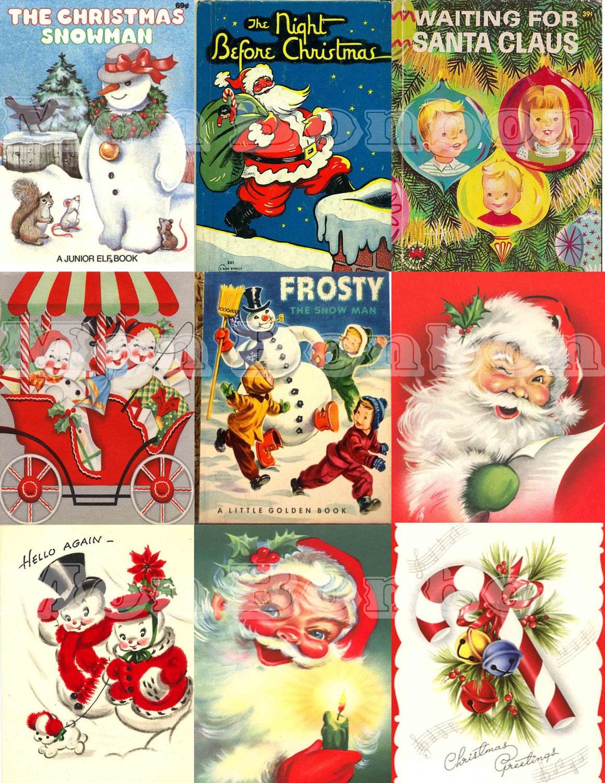 Digital Collage Sheet of Vintage Retro Christmas Cards & Books | Etsy