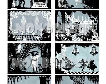 Vintage Fairytale Silhouette Scenes Digital Collage Sheet - INSTANT DOWNLOAD