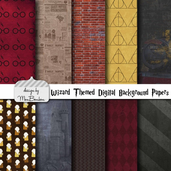 Harry Potter Themed Digital Scrapbooking Background Papers Etsy