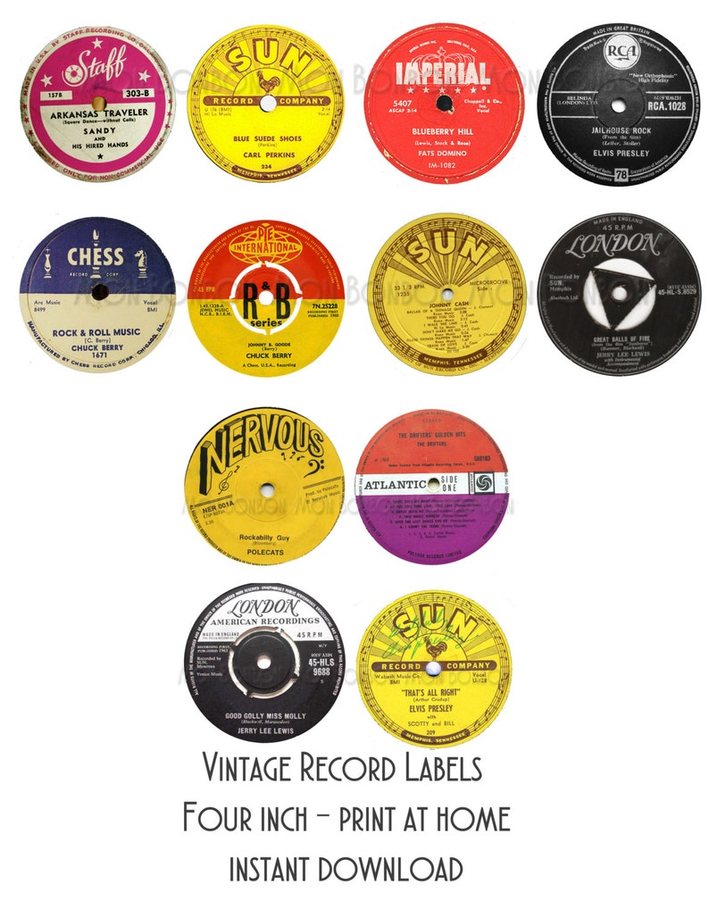 photo about Printable Record Labels identify Typical Background Labels - 3.5 inch - Print at Dwelling - 50s Celebration Decor- Quick Obtain