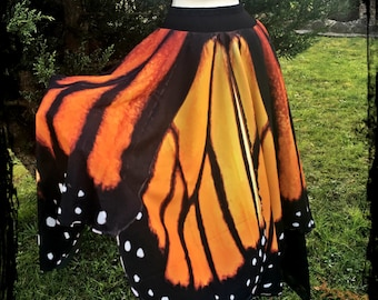 Monarch Butterfly Wings Skirt with Wings the Whole Way Around - Custom made - Festival Tribal  Dance Maxi Belly Dance Wedding Gothic Fa