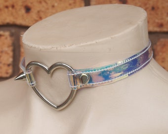 Holographic AB Vinyl Heart Choker - Ready to Ship - Medium to Large Sizing Fantasy Pastel Goth