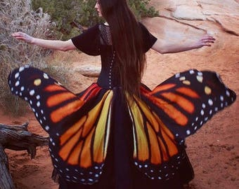 Monarch Butterfly Wings Skirt Custom Made For You - Any Size - Festival Tribal Wicca Dance Maxi Belly Dance Wedding Gothic Faery Fae