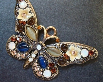GORGEOUS BUTTERFLY PENDANT, Embellished With Rhinestones and Cabachons, Limited