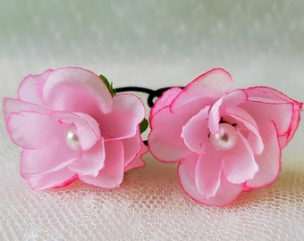 PIN UP Set of 2 Small Pink Vintage Rose Hair Flowers - Hair flower, Pink Hair Flowers, Bridesmaid Hair Flower, Flower girls hair flowers