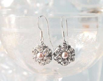 a57a71102 ADORE Crystal & Pearl Wedding Earrings, Pearl and Crystal bridal earrings,  Vintage wedding earrings, Bridesmaid earrings, Blush Pearls