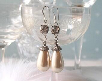 88ff71b03 SHOWSTOPPER Statement Vintage Crystal & Pearl Teardrop Wedding Earrings