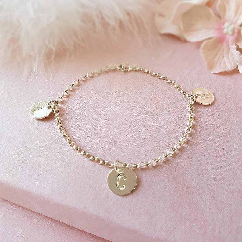 Personalised Sterling Silver Heart belcher chain Bracelet Handmade bespoke gift