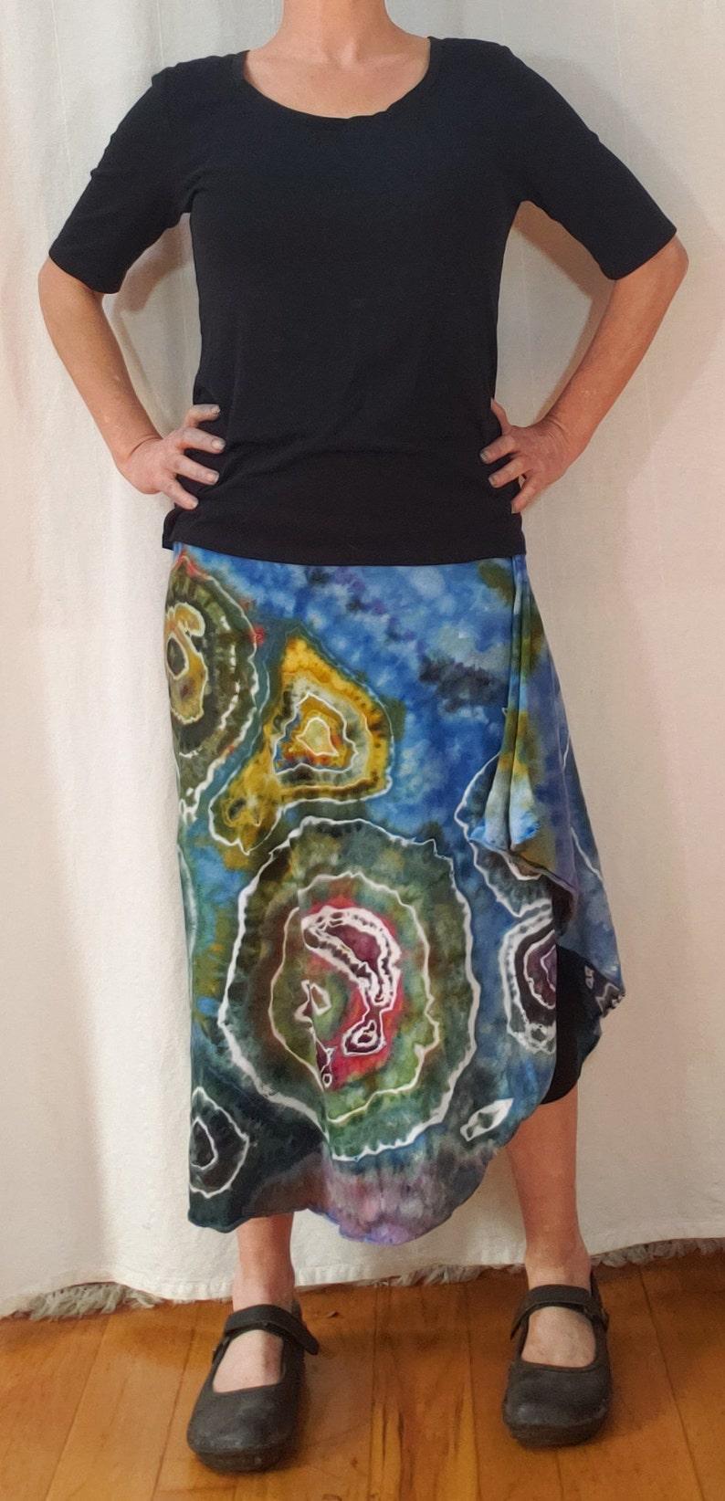 Very generous waist Small hand dyed geode asymmetrical lightweight jersey skirt
