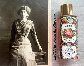 Edwardian Gloves, Handbags, Hair Combs, Wigs Vegan Herbal Hair Oil -1871 Rose Oil For The Hair Soft Hair Shiny Hair Flyaways Victorian Vintgage Gift Nourishing Hair Oil $14.00 AT vintagedancer.com
