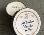 Historically Inspired White Face Paint - 1 2oz tins Historical Label Natural Primer, Natural Foundation, Natural Cover Up, Vintage Makeup