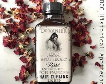 1912 Perfumed Rose Hair Curling Liquid Curl Paper Rag Curl Natural Hairspray Historical Curl Set Titanic Edwardian Hair