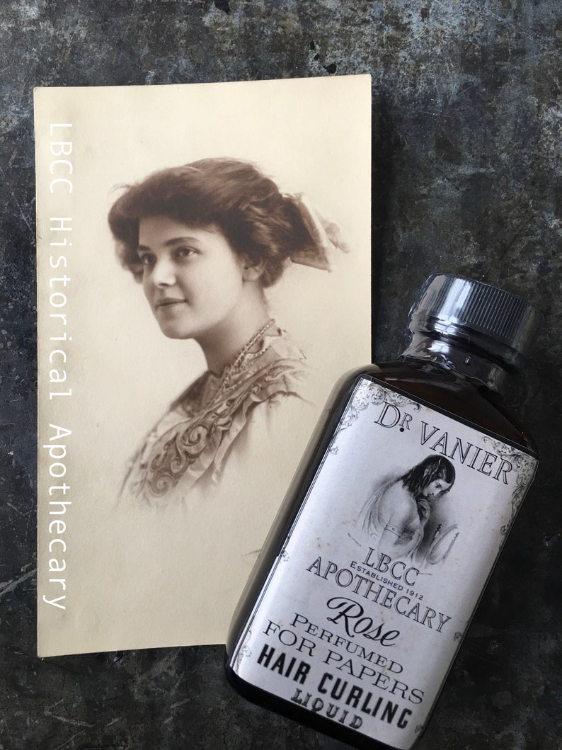 1900-1910 Edwardian Makeup and Beauty Products 1912 Hair Curling Liquid Curl Paper Rag Curl Natural Hairspray Historical Curl Set Titanic Edwardian Hair  Perfumed Rose $4.00 AT vintagedancer.com