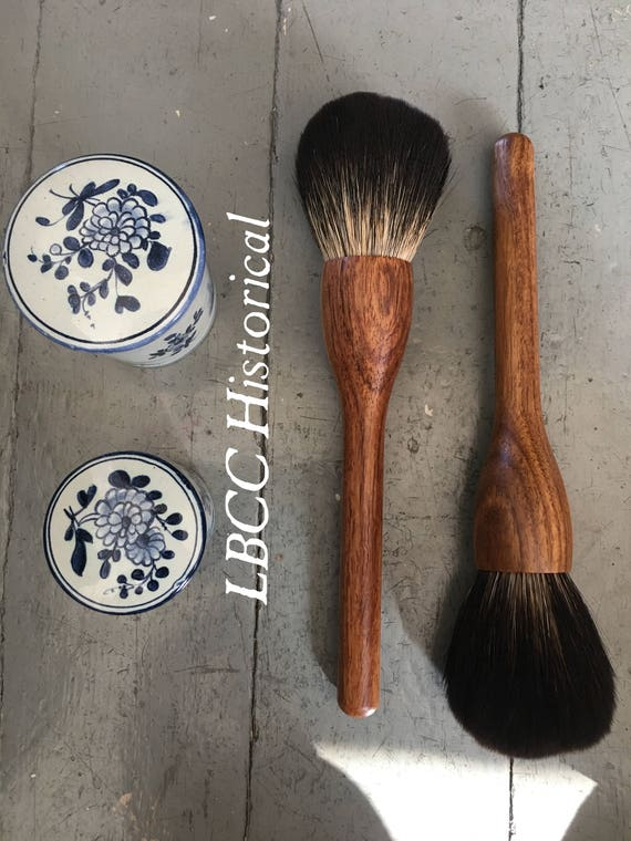 1920s Makeup Starts the Cosmetics Industry – History Natural Badger & Wood Face Powder Cosmetic Brush No POO Powder Brush Natural Cosmetic Makeup Brush Historical Cosmetic Blush Brush $70.00 AT vintagedancer.com