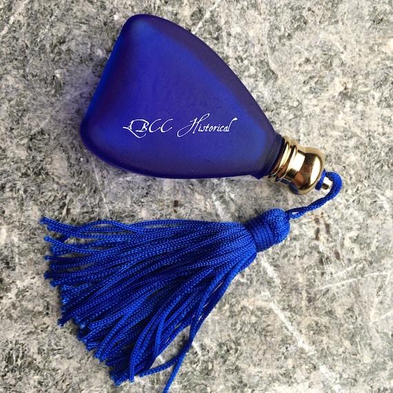 Victorian Makeup Guide & Beauty History Blue Glass Pyramid Perfume Bottle 1/4 oz $20.00 AT vintagedancer.com