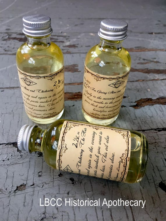 Victorian Makeup Guide & Beauty History 1825 - Hair Oil For Giving Shine & Thickening The Hair - Great for Dandruff Shine All Natural Conditioner Hair Conditioner Leave in hair Oil $12.00 AT vintagedancer.com