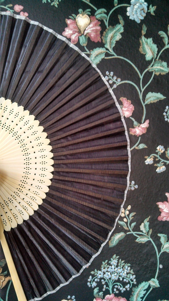 Vintage Style Parasols and Umbrellas BLACK SILK Bamboo Fan- Ready To Decorate Victorian Civil War $5.00 AT vintagedancer.com