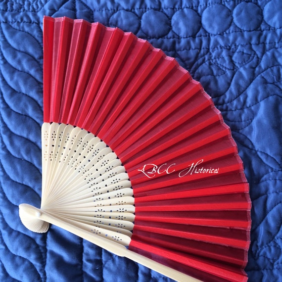 Vintage Style Parasols and Umbrellas Holiday Red SILK Bamboo Fan $5.00 AT vintagedancer.com