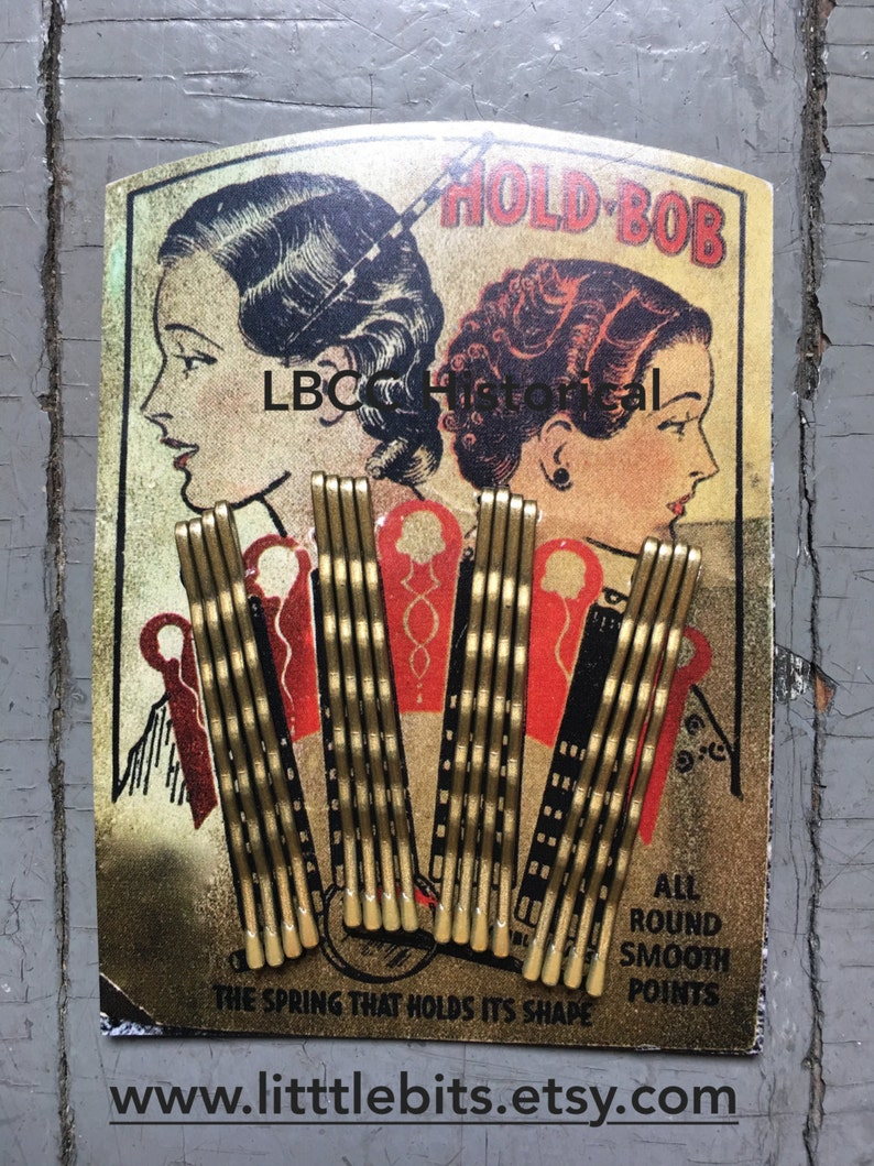 1920s Headband, Headpiece & Hair Accessory Styles  1920-1930 Blond Bobby-Pin Card Vintage Collection Hold-BOBS For Your Vintage Hairstyle Bobbie Pins Hair Pins Hair Setting Gift $8.00 AT vintagedancer.com