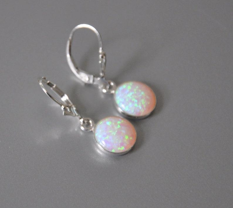 October Birthstone Opal Jewelry White Opal Earrings Leverback