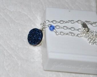 Druzy Necklace, Silver Necklace, Adjustable, Sterling Silver, Druzy Pendant, Blue Druzy, Quartz Titanium Druzy
