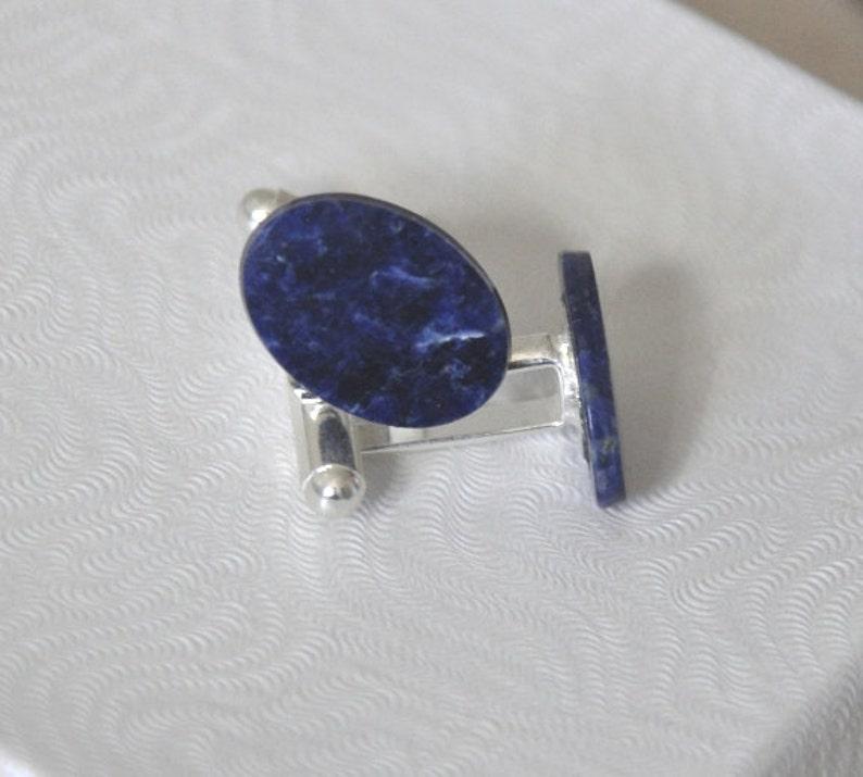 Men/'s Accessories Blue Stone Silver Cuff Links Sodalite Gemstone