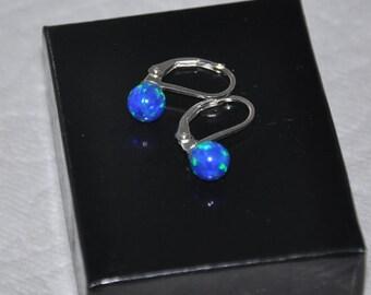 Opal Earrings,  Blue Opal,  Leverback Earrings,  Opal Jewelry,  Sterling Silver,  Australian Opal,  Silver Earrings, 6mm Stone