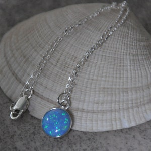 Geometric Necklace Square Stone Pendant Necklace  Sterling Silver Bohemian Bridal Opal Jewelry Blue Opal Necklace