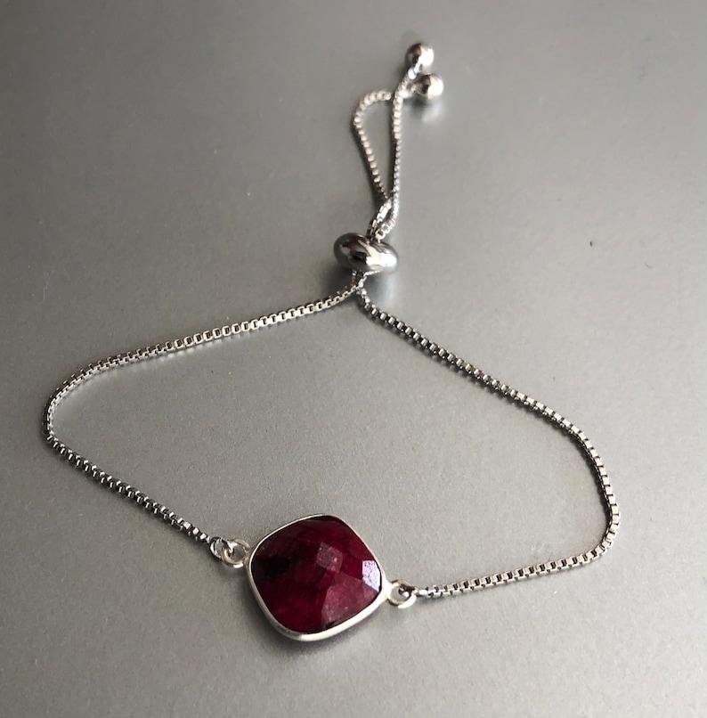 July Birthstone Personalized Jewelry Bolo Bracelet for Women Genuine Ruby Bracelet in Silver