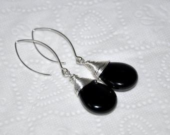 Black Onyx Earrings, Sterling Silver, Teardrop Earrings, Dangle Earrings, Gemstone Earrings, Black Earrings, Onyx Jewelry