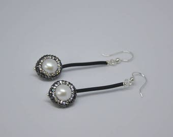 "Pearl Earrings,  Paved Pearls,  Dangle Earrings,  Sterling Silver,  Drop Earrings,  Fashion Jewelry,  Bridal Jewelry,  2.5"" long"
