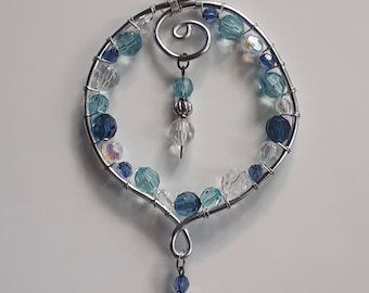 Music Mothers Day Gift Blue Sun catcher Window Ornament Friendship Gift Birthday Gift Bead and Wire Treble Clef Suncatcher