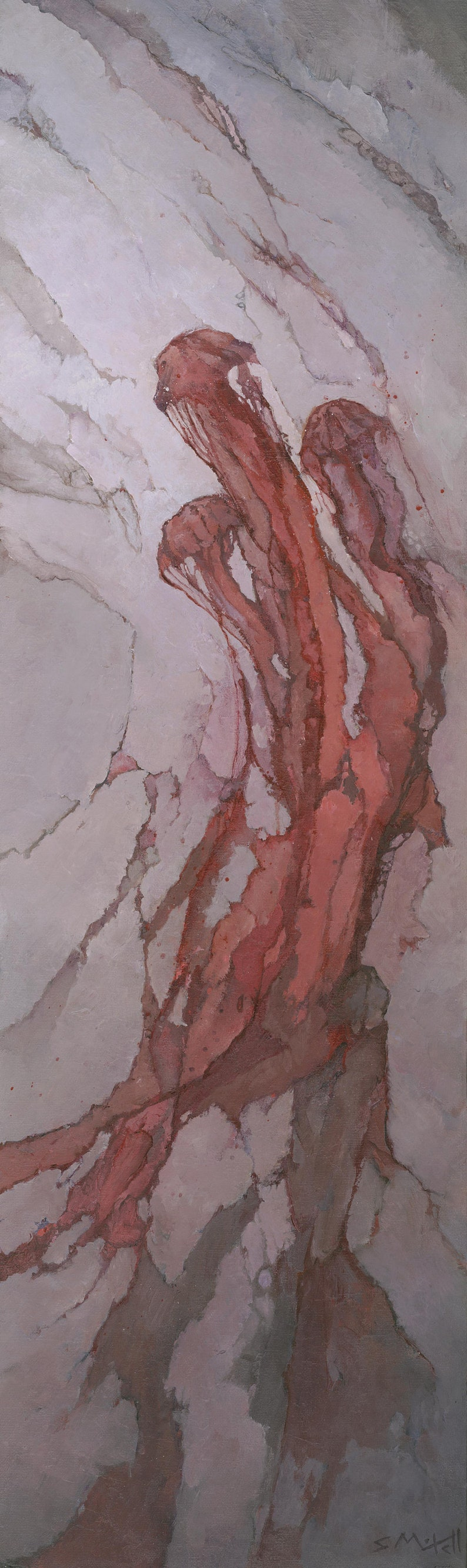 Red Jellyfish Original Painting Abstract Underwater Fluid image 0