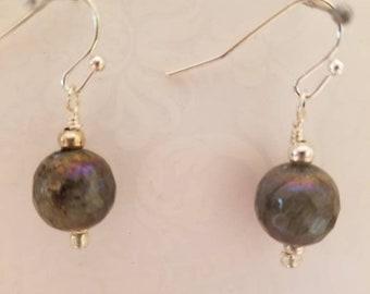 Labradorite earrings, gray earrings, grey earrings