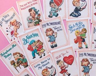 Valentine Stickers - Set of 18 - Handmade Stickers, Vintage Style, Vintage Valentine, Cute Planner Stickers, Cute Valentines, Valentines Day
