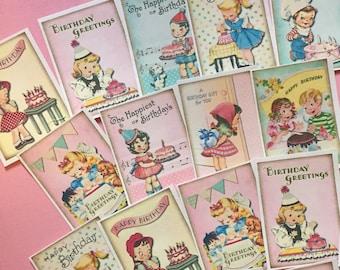 Birthday Stickers - Set of 18 - Handmade Stickers, Vintage Style, Vintage Birthday, Cute Planner Stickers, Cute Birthday, Birthday Party