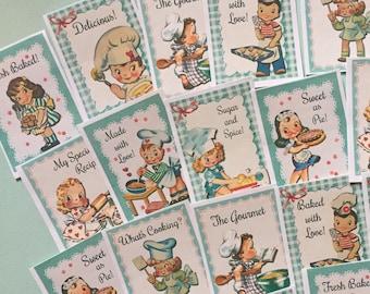 Baking Stickers - Set of 18 - Handmade Stickers, Vintage Style, Vintage Baking, Cute Planner Stickers, Cute Baking, Cute Bakery Stickers