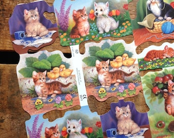 German Scraps - Baby Kittens - Die Cuts, Cut Outs, Reproduction, Vintage Style, Vintage Inspired, Cute Kittens, Paper Ephemera, Kitten Paper