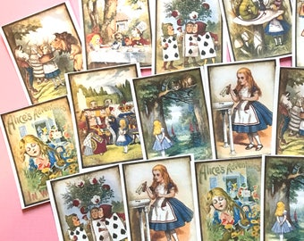 Alice in Wonderland Stickers - Set of 18 - Handmade Stickers, Vintage Style, Vintage Alice in Wonderland, Cute Planner Stickers, Story Book