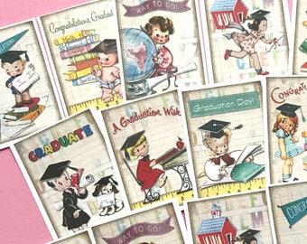 Graduation Stickers - Set of 18 - Handmade Stickers, Vintage Style, Vintage School, Cute Planner Stickers, Cute Children, Kids Graduation