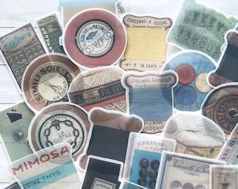 Sewing Stickers - Set of 40 - Sewing Ephemera, Junk Journal Paper Ephemera, Planner Supplies, Craft Supplies, Sewing Lot, Traveler Notebook